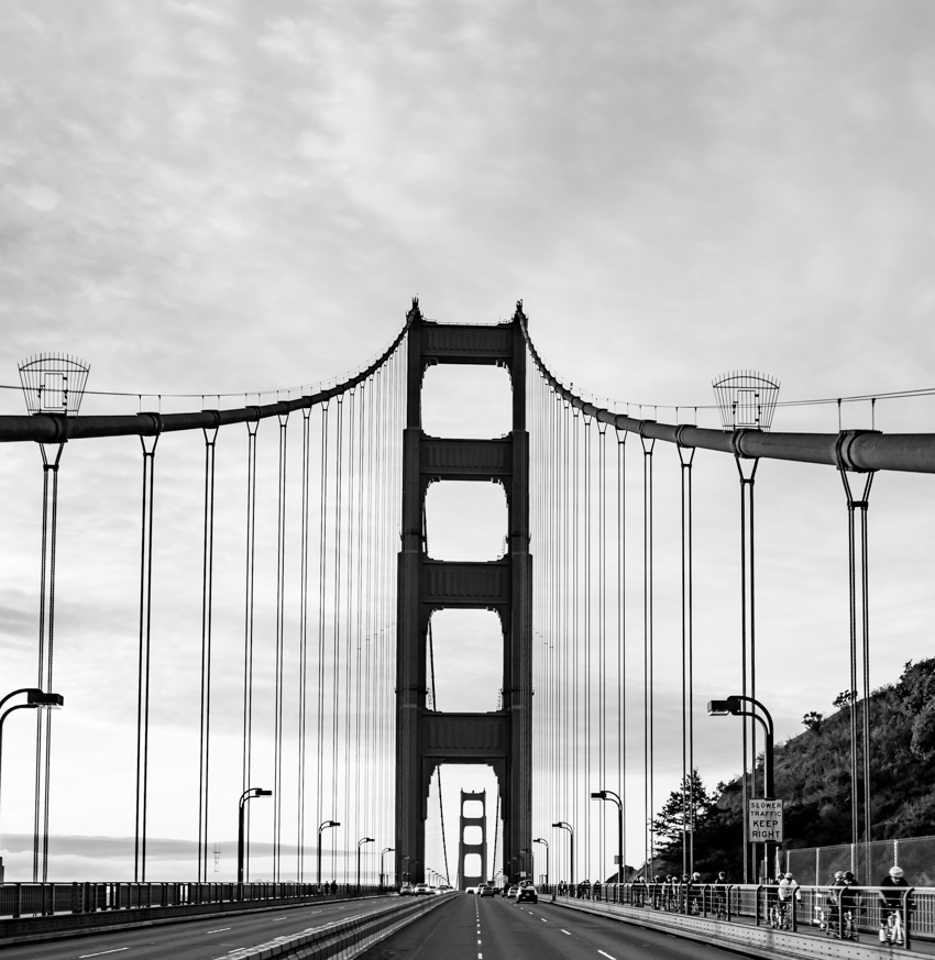 golden gate bridge black and white, megan crandlemire photography