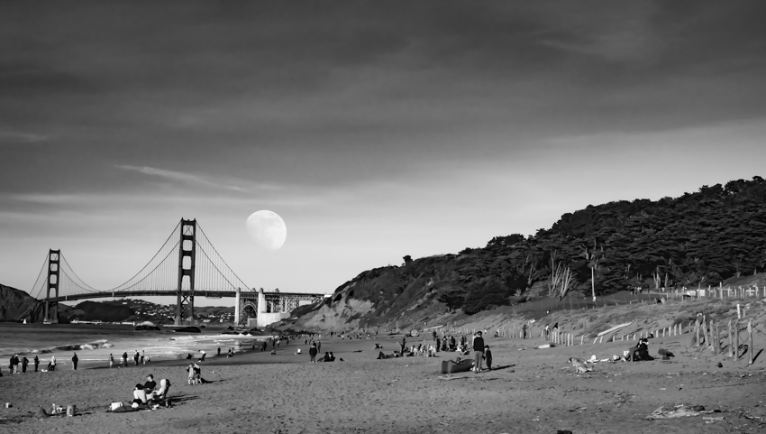 baker beach, san francisco, moon over golden gate bridge
