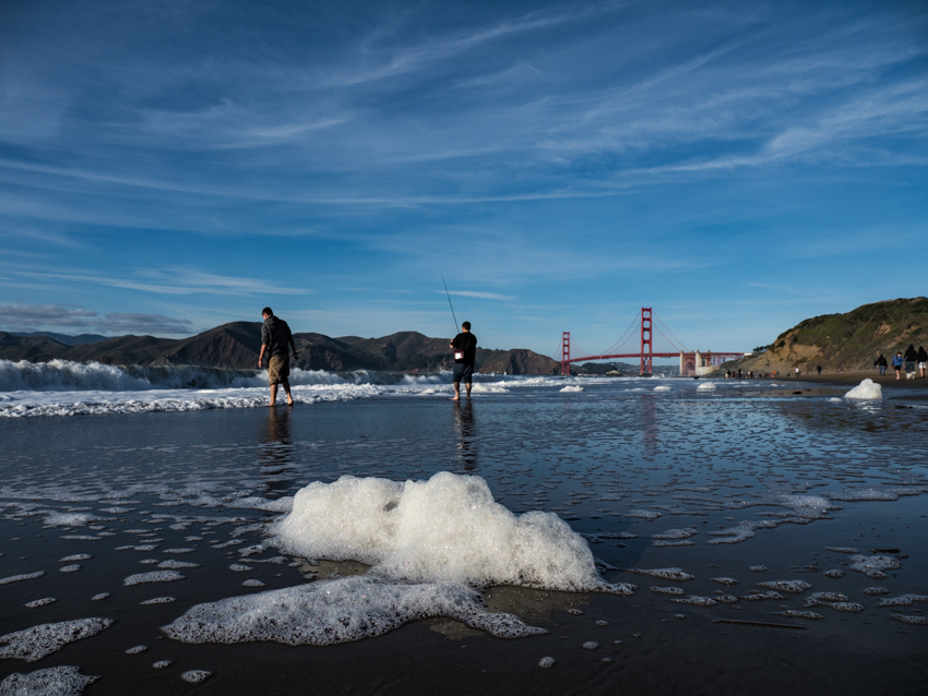 foam at baker beach