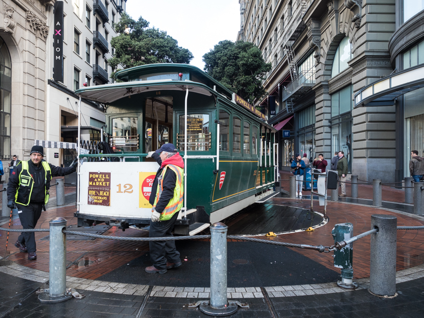 San Francisco turning around the cable car at Powell and Market