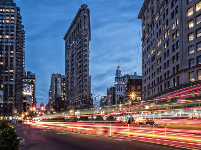 Flatiron District NYC night photography