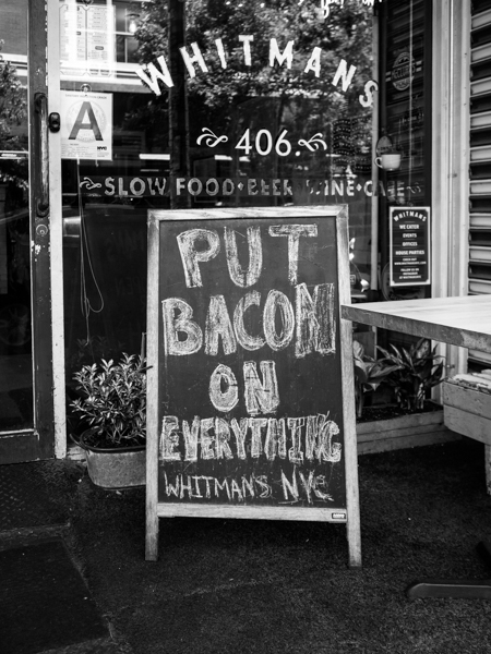 whitmans east village, put bacon on everything, Megan Crandlemire Photography