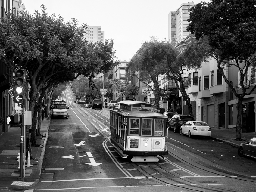 San Francisco cable car black and white