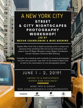 June 1 & 2, 2019 NYC Photography Workshop!